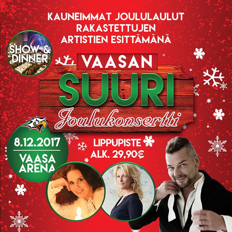 Tiedote 4.9.2017 – Joulukonsertti Vaasa Arenalla perjantaina 8.12. – esiintyjinä Anne Mattila, Jari Sillanpää, Laura Voutilainen